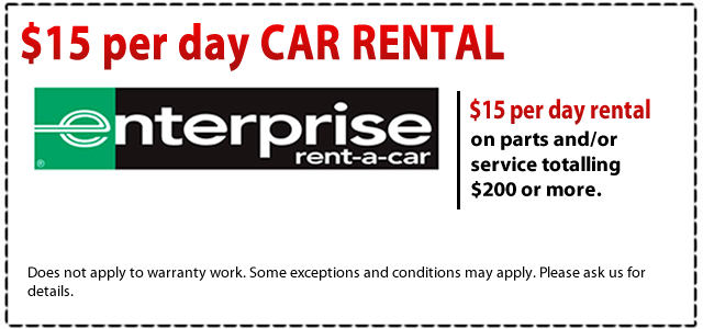 Enterprise Rent-A-Car Free Shipping Policy. This car rental company provides a great, complimentary pick-up service at most locations. Be sure to request the pick-up service with your planned arrival time when you place your order with your Enterprise promo codes.
